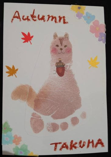 【今月のワンコイン足形アート】秋の気配を可愛い足形で感じませんか?